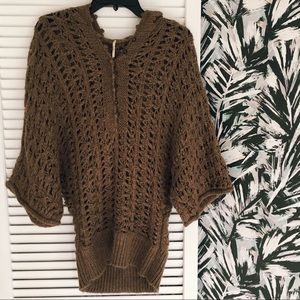 Free People Alpaca Mohair Open Knit Pullover